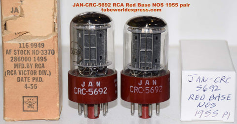 (!!!!!) (Best Overall Pair) JAN-CRC-5692 RCA RED BASE black plates NOS 1955 same date codes (8.0/8.7ma and 8.2/8.2ma)