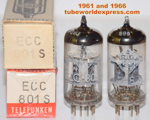 (!!!!!) (Recommended Telefunken Pair) ECC801S=12AT7 Telefunken <> bottom NOS 1961 and 1966 (8.1/8.5ma and 8.2/8.2ma)