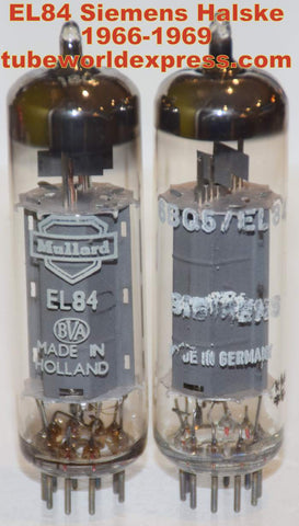(!!!) (Best Siemens Pair) EL84 Siemens Halske Germany 1966-1969 (40ma and 42.5ma)