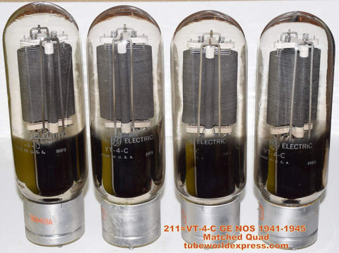 (!!!!!) (~ Best GE Quad in stock ~) 211=VT-4-C GE NOS 1941-1945 (109ma / 109ma / 110ma / 111.8ma)