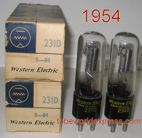 (!) (#1 231D Best Value Pair) 231D Western Electric NOS 1954 (1.7/1.7ma)