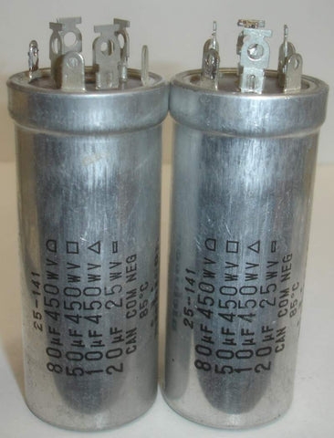 80/50/10uf @ 450V and 20uf/25VDC Nichicon FP cap like new 1982 (2 in stock) (3.25