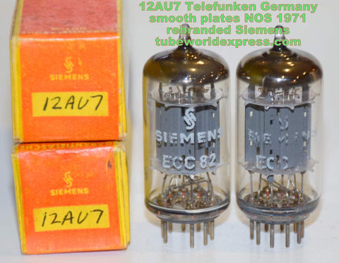 (!!!!!) (Recommended Telefunken Pair) 12AU7=ECC82 Telefunken Germany <> bottom smooth plates NOS rebranded Siemens 1971 (9.4/9.4ma and 9.8/10.0ma) 1-2% matched (ultra-low noise)