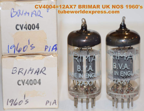 (!!!!) (~ Best 12AX7 Brimar Pair ~) 12AX7=CV4004 BRIMAR England tall narrow ribbed plates NOS 1960's (1.3/1.3ma and 1.2/1.4ma) 1-2% matched