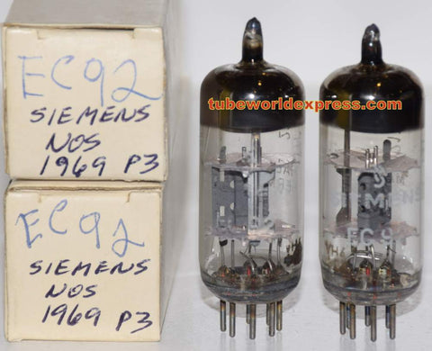 (!!!) (Recommended Pair - Best Value) EC92=6AB4 Siemens Halske Germany NOS 1969 (7.6ma and 7.8ma) 1% matched