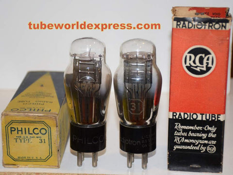 (!!) (#3 31 Pair) 31 Philco and RCA engraved base different top mica NOS 1930's (13.4ma and 14.2ma)