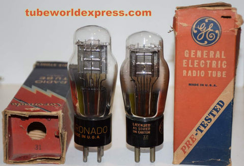 (!!) (Recommended Pair) 31 GE and Coronado same build different shape top mica 1940's (15.0ma and 15.6ma) (Highest Ma)