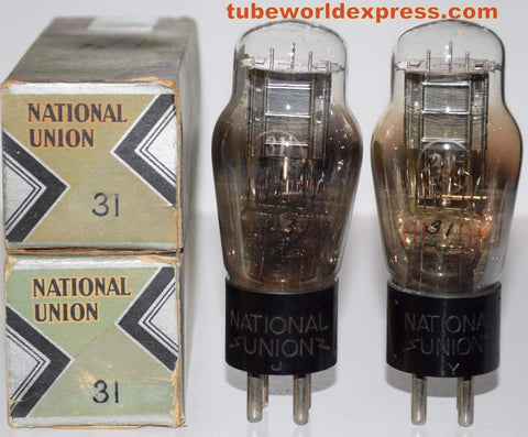 (!!) (#1 31 Pair) 31 National Union engraved base NOS 1930's (13.8ma and 14.2ma)