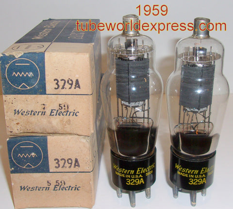 (!!!!!) (#1 329A Pair from 1959) 329A Western Electric NOS 1959 (31.5ma and 31.8ma) 1% matched (matched on Amplitrex)