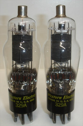 (Best Pair #2) 329A Western Electric NOS 1966 (P2) make a matched quad with pair (P1)