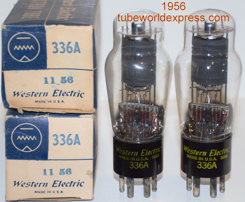(!!!!!) (#1 336A Pair) 336A Western Electric NOS 1956 same date codes (39.0ma and 39.8ma) (matched on Amplitrex)