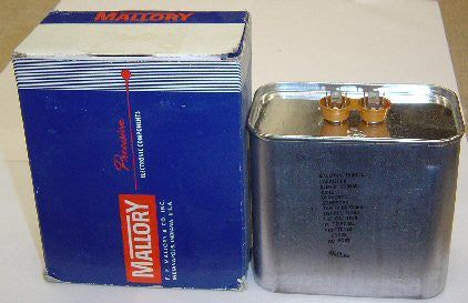 (!) 35uf/370VAC=600VDC Mallory oil cap NOS (power supply cap) (12 in stock)