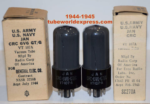(!!!!!) (~ Best RCA Pair ~) 6V6GT=VT-107A RCA black plate coated glass NOS 1944-1945 (42.5ma and 43.6ma)