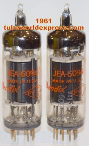(!!) (~ Recommended Pair ~) JEA-6094 Bendix NOS 1961 pins gently cleaned (59ma and 61ma) (matched on Amplitrex)