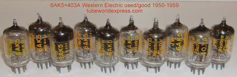 (!!) (1 set of 10 tubes) 403A=6AK5 Western Electric used/good D getter halo 1950-1959 (1 set of 10 tubes)