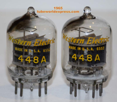 (!!!) (#1 448A tipped top pair) 448A Western Electric tipped top used/test like new 1965 (40ma and 40.6ma) (Matched on Amplitrex)