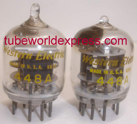 448A Western Electric tipped top used/like new 1965-1966 (1 pair: 33ma and 33.6ma) (Matched on Amplitrex)