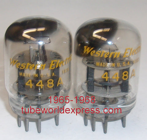 (!!!!!) (Best 448A Pair) 448A Western Electric smooth top used/test like new 1965-1968 (42.5ma and 45.5ma) (Matched on Amplitrex)