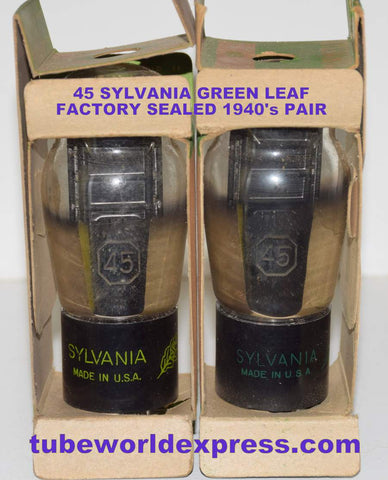 (!!!!) (BEST 45 PAIR) 45 Sylvania Green Leaf black plate NOS mid-1940's same build (32ma and 34ma)