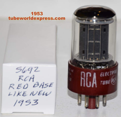 (!!!!) (Recommended Single) 5692 RCA RED BASE black plates like new 1953 (7.5/8.5ma) (Best 6SN7 Sub)