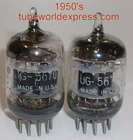 (!) (#1B 5670 GE PAIR) JG-5670 GE triple mica with D getter halo 1950's (matched on Amplitrex)