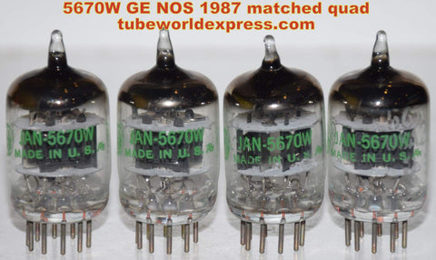 (!!!!) (~ Recommended GE Quad ~) 5670W GE NOS 1987 matched quad