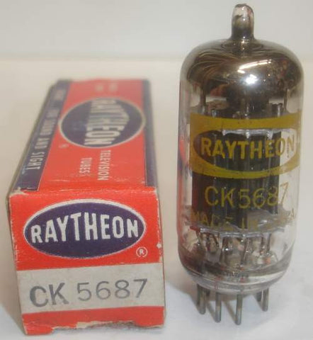 (!) (Best 5687 used) CK-5687 Raytheon black plates used/good 1963 small stain on glass (39ma/42.5ma) (strong Ma and Gm)