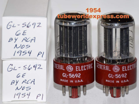 (!!!!!) (Best Overall Pair) 5692 RCA RED BASE black plates NOS branded GL-5692 GE 1954 same date codes (7.7/8.4ma and 8.0/8.6ma)