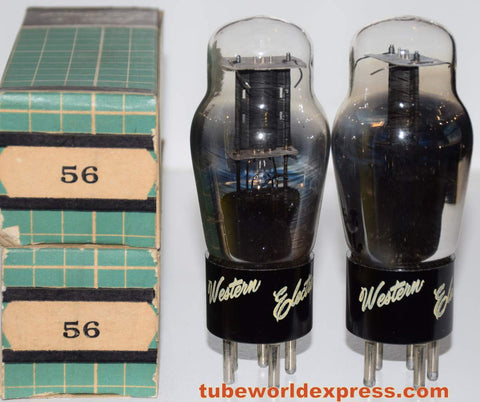 (!!) (#1 56 Pair) 56 Sylvania black plate NOS 1940's branded Western Electronics 1940's (5.7ma and 5.8ma)
