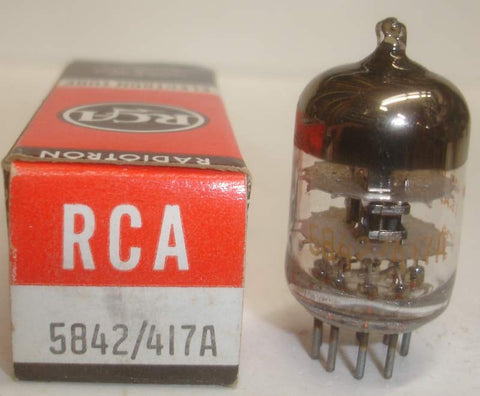5842 Raytheon branded RCA NOS windmill getter galo 1967 (28ma Gm=25,000)