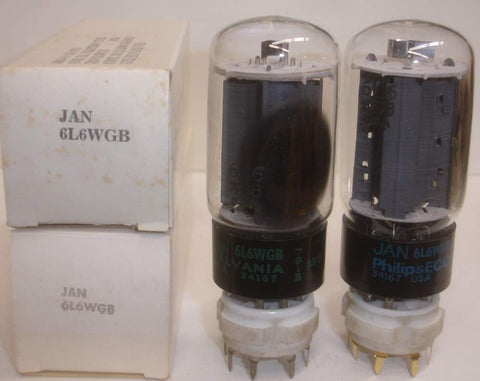 (!!!!) (Recommended Pair) 6L6WGB=5881 Sylvania JAN black base NOS 1979-1987 same build (72ma and 73ma) 1-2% matched