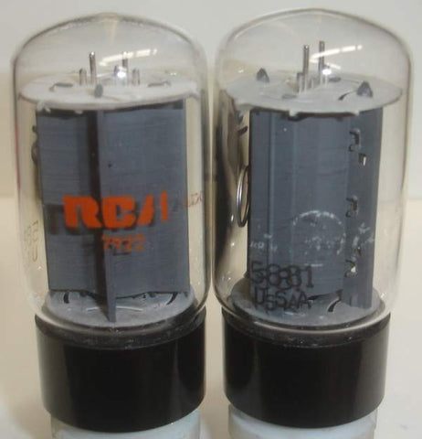 (!) (#4 5881 Pair) 5881 Sylvania black base rebranded GE and RCA NOS 1979-1980 same build (74.5ma and 79ma)
