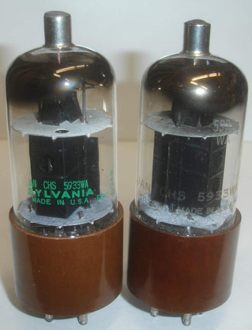 (BEST 5933 PAIR #2) JAN-CHS-5933WA=807W Sylvania NOS 1961-1964 original boxes (51.5ma and 53ma)