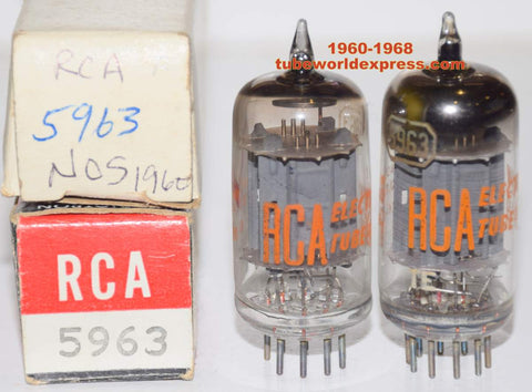 (!!!) (BEST RCA PAIR) 5963 RCA NOS 1960 and 1968 (10.6/11.0ma and 10.0/10.6ma)