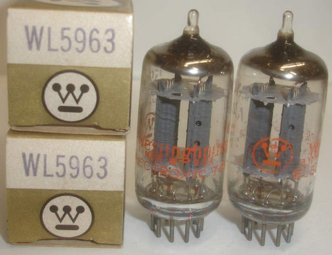 (!!) (Best Pair) 5963 GE NOS ribbed plates rebranded Westinghouse mid-1960's (9.8/10ma and 9.8/10ma) 1% matched