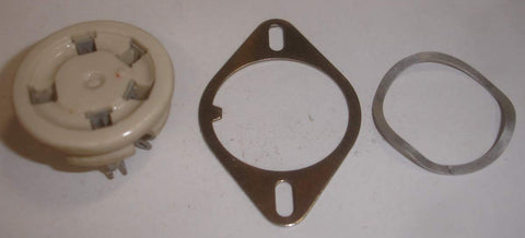 5-pin (UX-5) Amphenol, Chicago USA NOS ceramic chassis mount socket with mounting bracket and wavy washer (1 in stock)