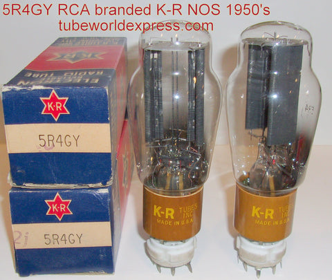 (!!) (#1 5R4GY PAIR - Best Sound) 5R4GY RCA brown base NOS 1950's rebranded KR Tubes, New York City slightly tilted glass in base (50/40 and 52/40 x 2 tubes)