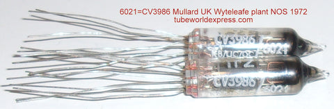 (!!!!!) (#1 6201 Mullard Pair) 6021=CV3986 Mullard UK Whyteleafe plant NOS 1972 original boxes (5.2/5.3ma and 5.1/5.4ma) (matched on Amplitrex) 1% matched