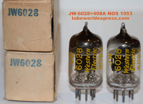 (!!!!) (#1 6028 PAIR) JW-6028=408A Western Electric NOS 1953 (44/22 and 44/22)