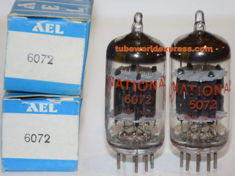 (!!) (BEST LOW NOISE PAIR) 6072A GE rebranded National NOS 1960's - 1970 era in Aero Electronics boxes 1% matched (3.0/3.0ma and 3.0/3.1ma)