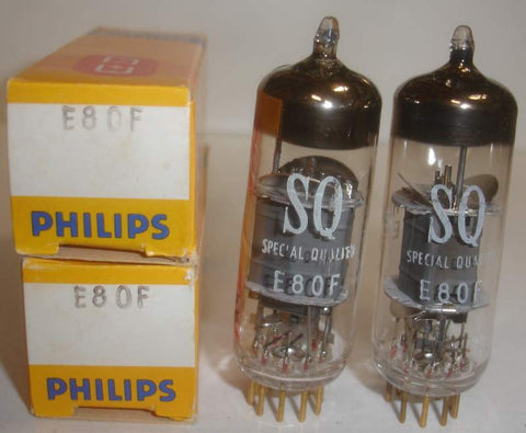(!!) (#2 6084=E80F Pair) E80F=6084 Philips by Mullard SQ Special Quality Gold Pins NOS 1971 (3.2ma and 3.2ma) 1-2% matched