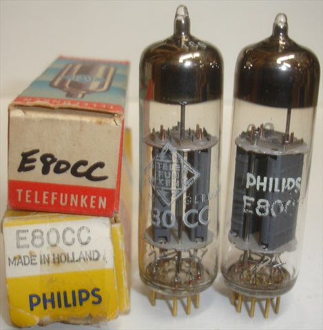 (!!) (#2 6085 PAIR) E80CC=6085 Philips Holland NOS 1968 (2% matched) (high Ma and Gm) (matched on Amplitrex)