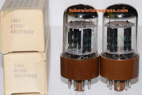 (!!!!!) (BEST SYLVANIA PAIR) JAN-6188 Sylvania NOS 1967 small glass flake inside one tube (2.8/2.9ma and 2.9/2.9ma) 1-2% matched (BEST 6SL7GT SUB)