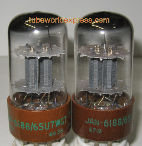 (!!) (#1 6188 - CRYO PAIR) JAN-6188=6SU7WGT Tungsol Kuhl-Tube cryo NOS 1966-1967 (2.4/2.5ma and 2.4/2.6ma)
