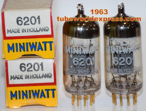 (!!!!) (~ Best 6201 Pair ~) 6201=E81CC=12AT7 Valvo Hamburg Germany rebranded Philips Miniwatt SQ NOS 1963 1-2% matched (11.2/11.2ma and 10.6/11.6ma) (High Ma and Gm)