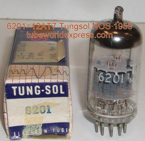 (!!) (#1 6201 Tungsol) 6201=12AT7WA Tungsol NOS gray plates 1959 (10.4/11.0ma) (high ma and Gm)
