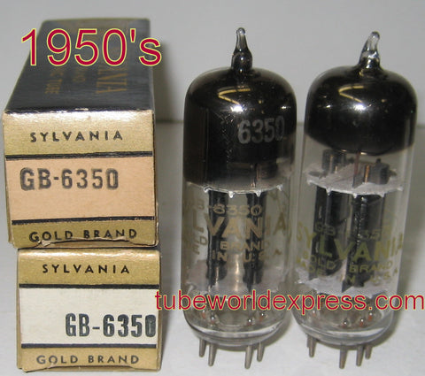 (!!!) (#1 6350 PAIR) GB-6350 Sylvania Gold Brand black plates NOS 1950's same build except different shape getter halo shape (matched on Amplitrex)