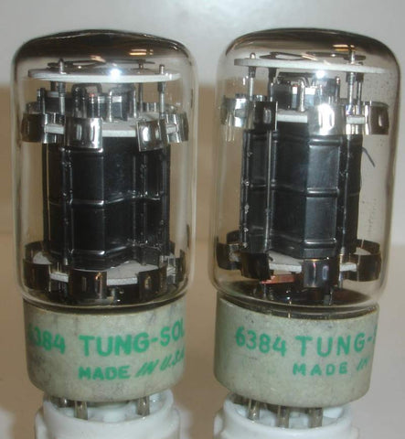 (!!) (#1 6384 Tungsol used pair) 6384 Tungsol used/good 1960's same build and print (66ma and 67.5ma)