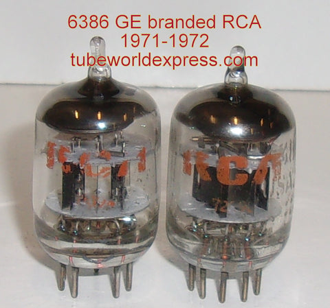 (!!) (#1 6386 Pair) 6386 GE branded RCA used/very good 1971-1972 (7.5/9.0ma and 8.2/9.6ma)