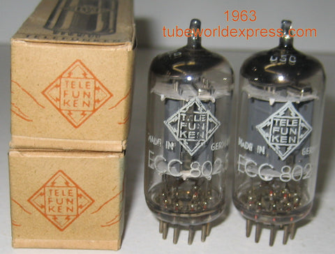 (!!!) (#1 12AU7 PAIR) ECC802S=12AU7 Telefunken Germany <> bottom NOS 1963 1% matched